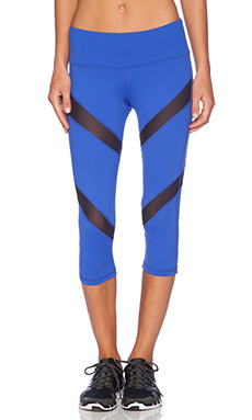 Rese Mia Crop Legging in Blue & Black Mesh