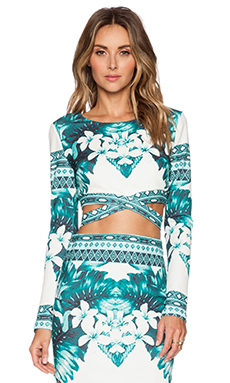 RISE OF DAWN When You Were Mine Crop Top in Jade Aztec