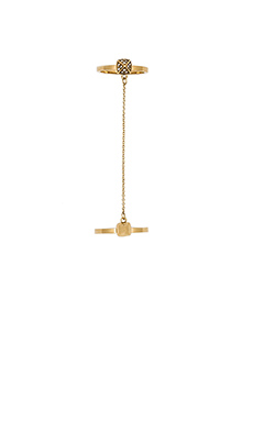 Rebecca Minkoff Pave Pyramid Chain Ring in 14 KT Gold Plate