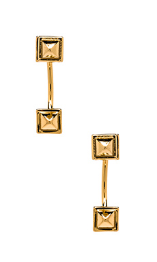 Rebecca Minkoff Stud Back Hoop Earrings in Gold