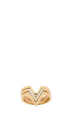 Rebecca Minkoff V Stack Ring in Gold
