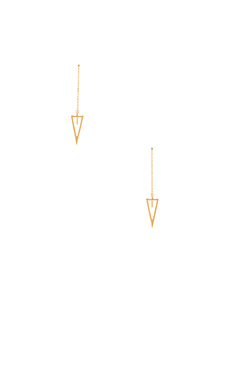 Rebecca Minkoff Triangle Long Chain Drop Earrings in Gold