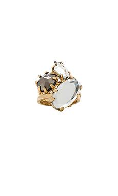 Rebecca Minkoff Starry Ring Set in Gold, Crystal & Hematite
