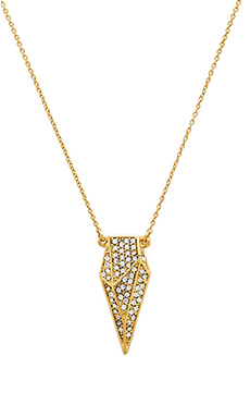 Rebecca Minkoff Pave Blade Pendant Necklace in Gold & Crystal