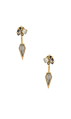 Rebecca Minkoff Clustered Stones Front Back Earring in Black Diamond Crystal