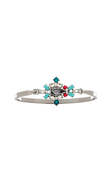 Rebecca Minkoff Clustered Stones Bangle in Smoke Crystal, Turquoise & Electric Pink