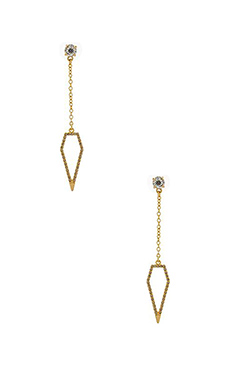 Rebecca Minkoff Open Blade Drop Earrings in Black Diamond Crystal