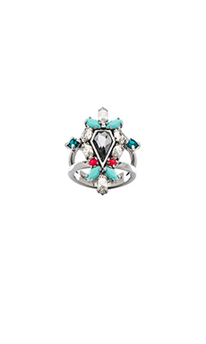 Rebecca Minkoff Clustered Stones Shield Ring in Smoke Crystal, Turquoise & Electric Pink