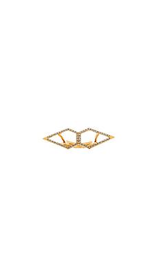 Rebecca Minkoff Double Open Blade Ring in Black Diamond