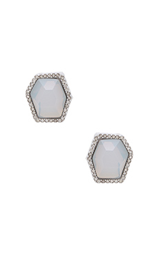 Rebecca Minkoff Gem Stud Earring in White & White Opal