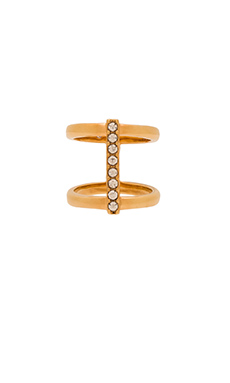 Rebecca Minkoff Crystal Bar Ring in Gold & Crystal