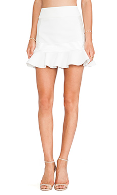 Robert Rodriguez Quorra Striped Embroidery Skirt in Off White