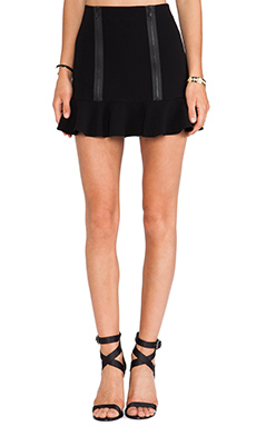Robert Rodriguez Zipped Flounce Skirt in Black