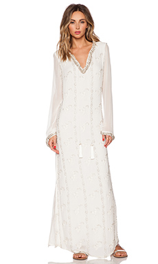 ROCOCO SAND Embellished Georgette Maxi Dress in White