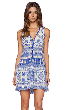 ROCOCO SAND Back to Greece Racer Back Mini Dress in Cross Print