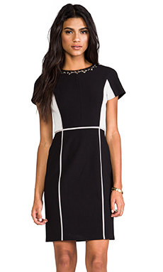 Rebecca Taylor Blocked Dress w/ Embellishment in Black/Shady