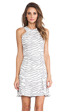 Rebecca Taylor Tiger Print Flare Dress in Snow