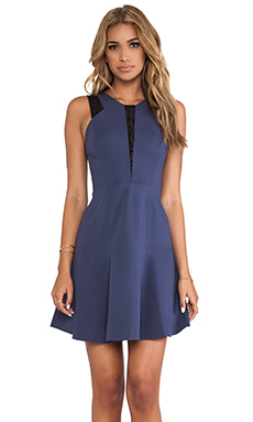 Rebecca Taylor Lace & Ponte Dress in Harbor