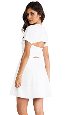 Rebecca Taylor Poplin Cut Out Dress in White