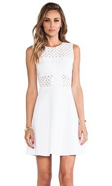 Rebecca Taylor A-Line Eyelet Dress in Cream