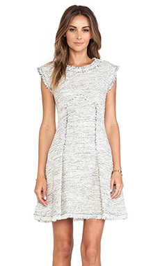 Rebecca Taylor Short Sleeve Tweed Dress in Navy Combo
