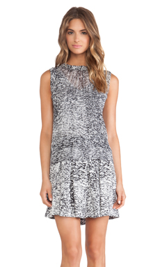 Rebecca Taylor White Noise Print Tank Dress in Black & White