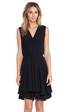 Rebecca Taylor Flutter Hem Dress in Black