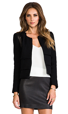 Rebecca Taylor Patched Tweed Jacket in Black