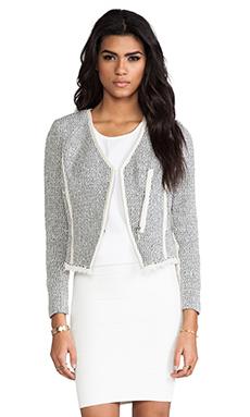 Rebecca Taylor Cutaway Tweed Jacket in Charcoal