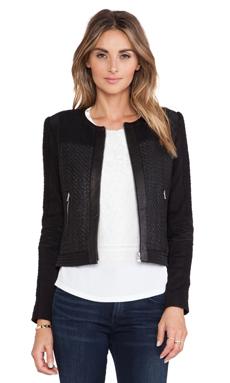 Rebecca Taylor Twill Combo Jacket in Black & Black