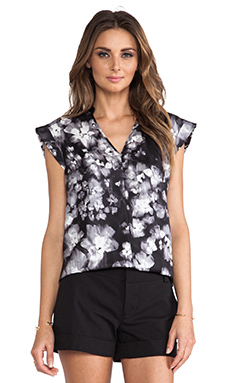 Rebecca Taylor Ghost Flower Print Top in Black & White