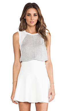 Rebecca Taylor Knit & Chiffon Top in Light Grey