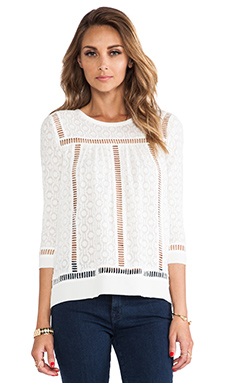 Rebecca Taylor Solid Geo Blouse in Cream