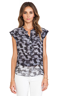 Rebecca Taylor Short Sleeve Blouse in Black Combo