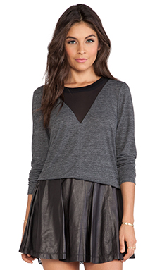 Rebecca Taylor Long Sleeve Jersey and Chiffon Top in Grey