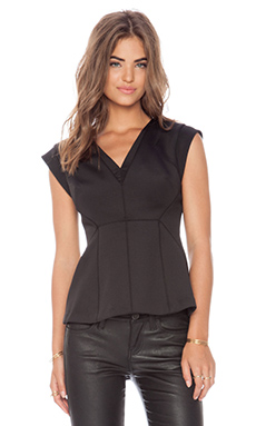 Rebecca Taylor Modern Stretch V Neck Top in Black