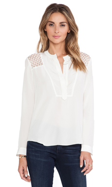 Rebecca Taylor Lace Insert Blouse in Chalk