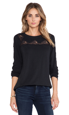 Rebecca Taylor Lace Piece Long Sleeve Top in Black