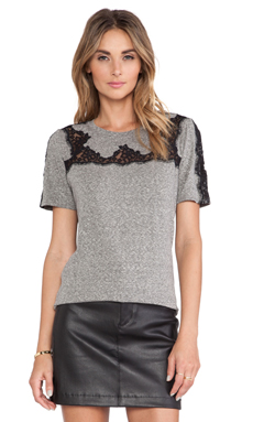 Rebecca Taylor Lace Piece Top in Panther