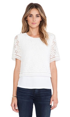 Rebecca Taylor Lace Overlay Top in Chalk & Chalk