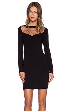 Red Valentino Lace Inset Sweater Dress in Black