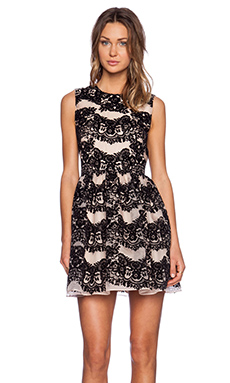 Red Valentino Flounces Flocked Print Fit and Flare Dress in Nude