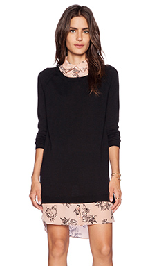 Red Valentino Tattoo Printed Silk Sweater Dress in Black