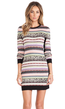 Red Valentino Long Sleeve Sweater Dress in Black Multi