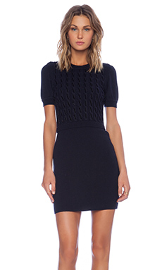 Red Valentino Short Sleeve Knit Dress in Navy Multi