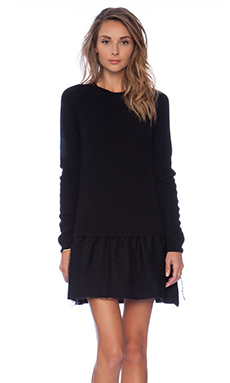 Red Valentino Long Sleeve Ruffle Dress in Black
