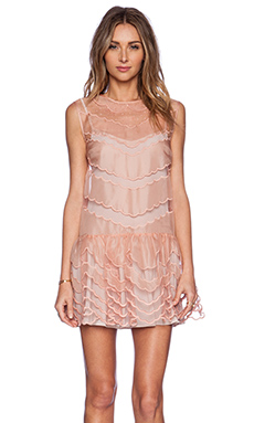 Red Valentino Point D'Esprit and Scallop Emroidered Drop Waist Dress in Blush
