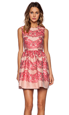 Red Valentino Lace Brocade Fit and Flare Dress in Ribes