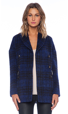 Red Valentino Plaid Pea Coat in Navy