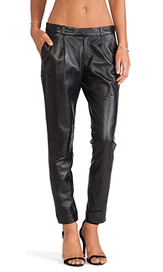Red Valentino Straight Leg Leather Pants in Black